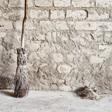 grunge wall and wooden broom background Stock Photo - 16719815