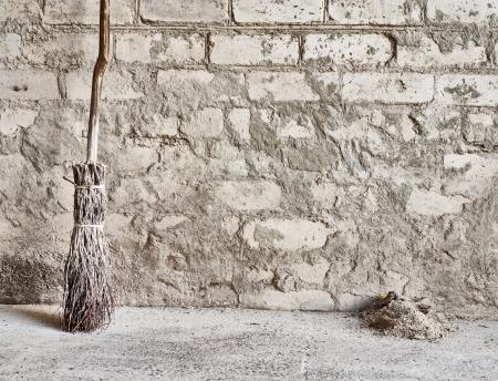 grunge mur et fond en bois balai