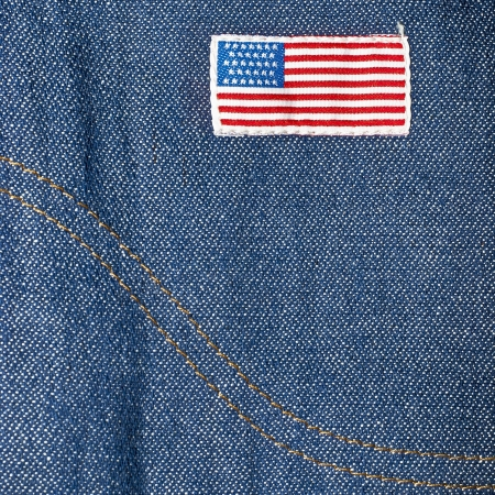 blue jeans, american flag label photo