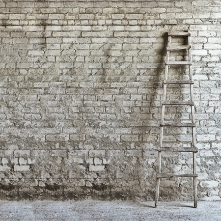 brick wall background ,  ladder on the right side