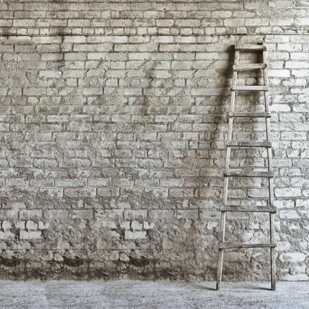 mur de briques fond, l'�chelle sur le c�t� droit