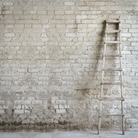 brick wall , ladder near the wall