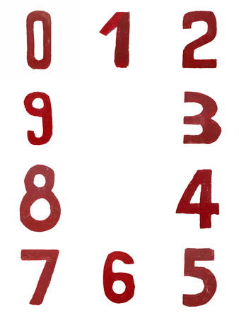 Red handwritten numbers set from 0 to 9 isolated on white photo