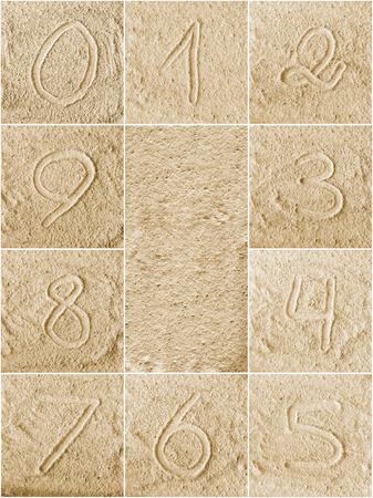 Les nombres �crits sur un sable (de 1 � 0)
