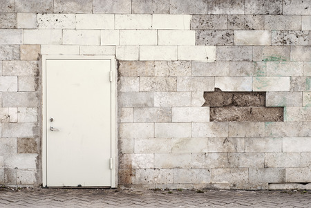 metal door and brik wall background photo