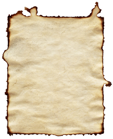 old brown paper isolated on white background photo