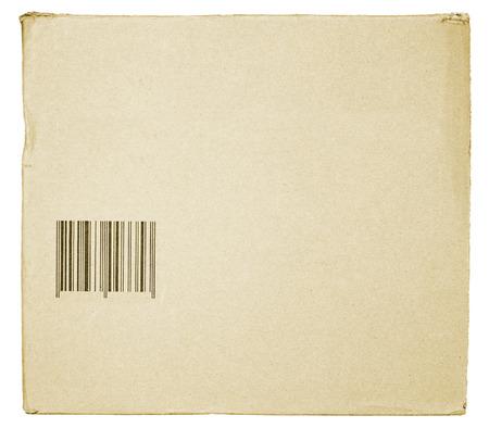 carton avec code � barres texture isol� sur blanc