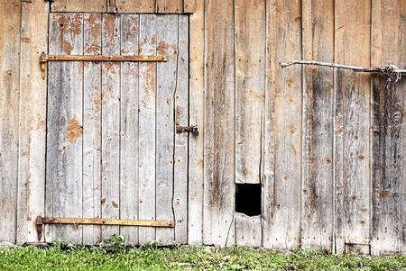 wooden wall with a door and hole for the dog photo