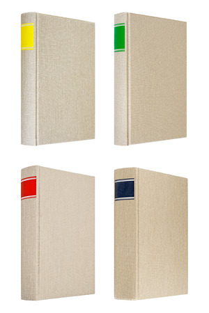 composition book: Four grey books with different color frames for title on the spine