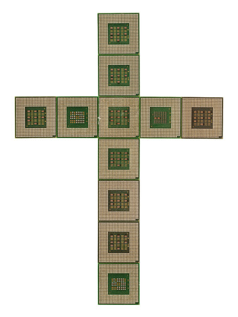 Cross made of old and dirty microprocessors isolated on white background photo