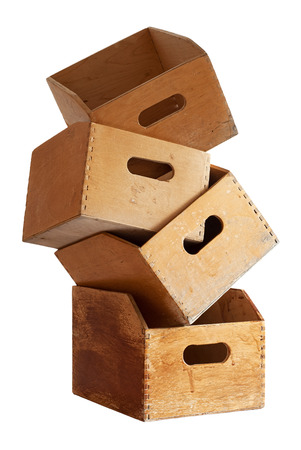 stack of four wooden containers for holding file folders  photo
