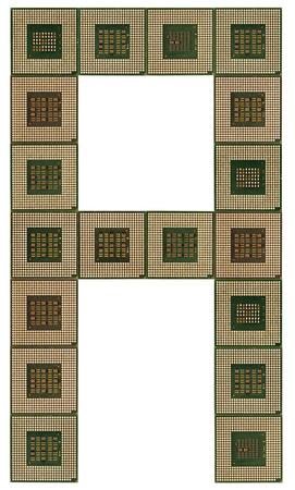 microprocesadores: letra A hecha de microprocesadores viejos y sucios, aislado en fondo blanco