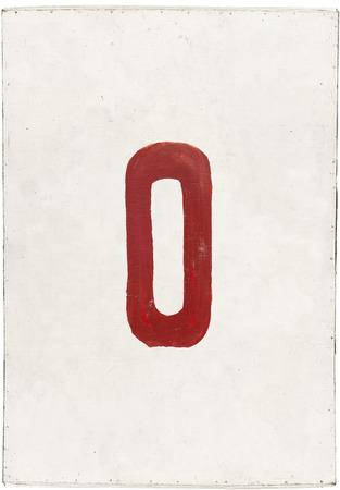 number zero on white plywood board, isolated on white background photo