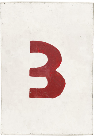 number three on white plywood board, isolated on white background photo