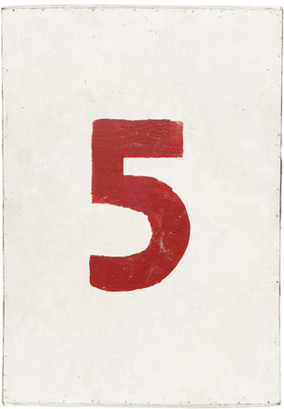 number five on white plywood board, isolated on white background photo