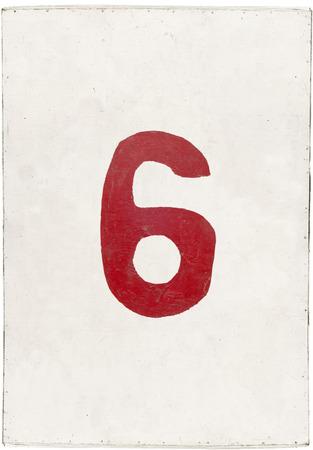 num�ro six sur blanc planche de contreplaqu�, isol� sur fond blanc Banque d'images