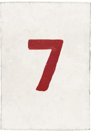 num�ro sept sur blanc planche de contreplaqu�, isol� sur fond blanc