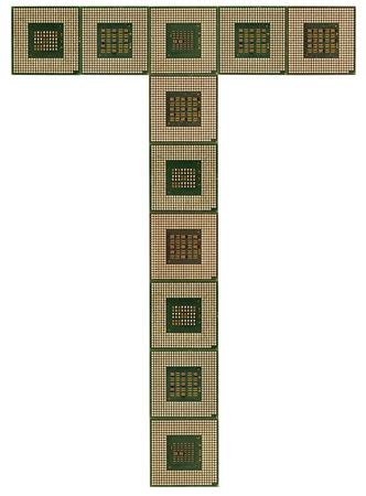 microprocesadores: letra T hecha de microprocesadores viejos y sucios, aislado en fondo blanco