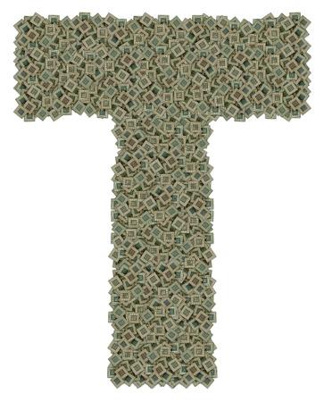 lettre T faite de en �norme quantit� de microprocesseurs vieux et sale, isol� sur fond blanc