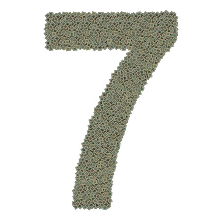 number 7 made of huge amount of old and dirty microprocessors photo