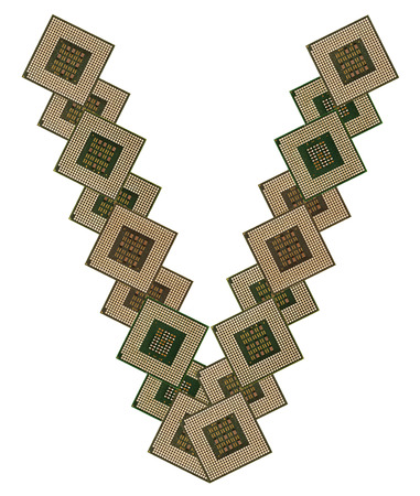 microprocesadores: letra V hizo de microprocesadores viejos y sucios, aislado en fondo blanco Foto de archivo