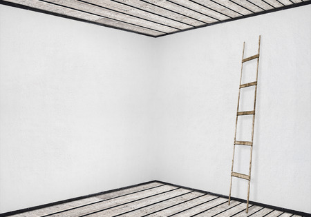 backstairs: white stucco wall with a wooden ladder, wooden floor and ceiling background