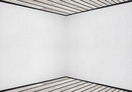 white stucco wall, wooden floor and ceiling background photo