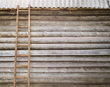 backstairs: round log wall with a wooden ladder background