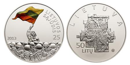establishment: 50 litas coin dedicated to the 25th anniversary of the establishment of the Lithuanian Sajudis Stock Photo