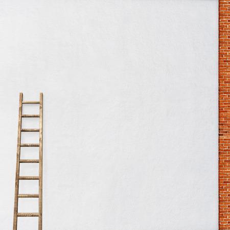 rungs: pared de estuco blanco, marco de ladrillo rojo con un fondo de madera escalera Foto de archivo