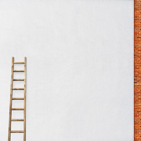 rungs: white stucco wall, red brick frame with a wooden ladder background