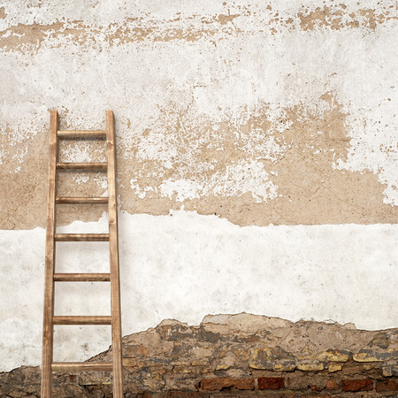 backstairs: weathered stucco  wall with wooden ladder background