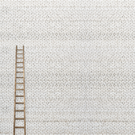backstairs: huge white brick wall with a wooden ladder background