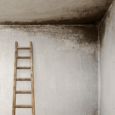backstairs: muro stucco con con scaletta in legno, muro stampato Archivio Fotografico
