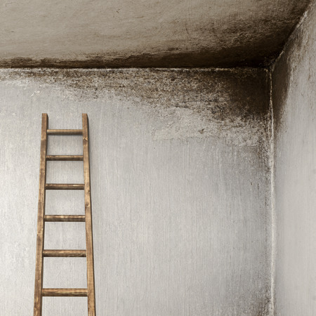 backstairs: stucco wall with with wooden ladder, molded wall Stock Photo