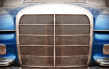 front of the vintage car, headlights, grill and bumper Stok Fotoğraf