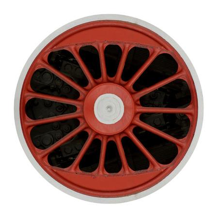 wheel: Wheel of steam locomotive isolatde on white background Stock Photo