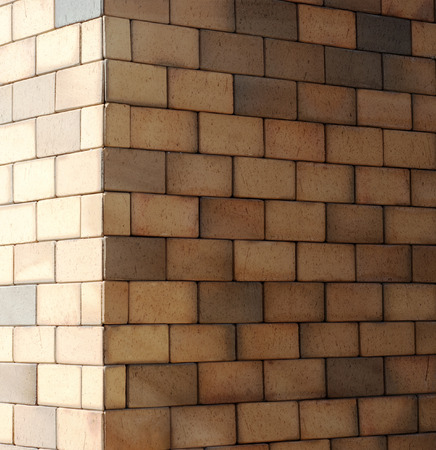 The corner of a brick wall with diminishing perspective texture background photo
