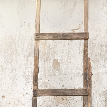 backstairs: old, weathered brick wall, ladder near the wall background