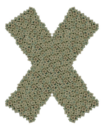 microprocessors: letter X made of made of huge amount of old and dirty microprocessors, isolated on white background
