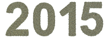 microprocessors: number 2015 made of old and dirty microprocessors, new year of the goat