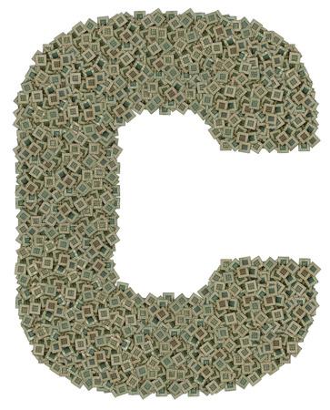microprocesadores: letra C hecha de hechos de gran cantidad de microprocesadores viejos y sucios, aislado en fondo blanco