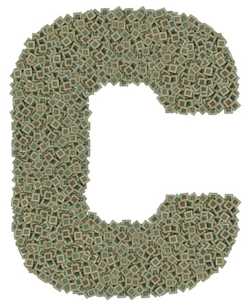 microprocessors: letter C made of made of huge amount of old and dirty microprocessors, isolated on white background