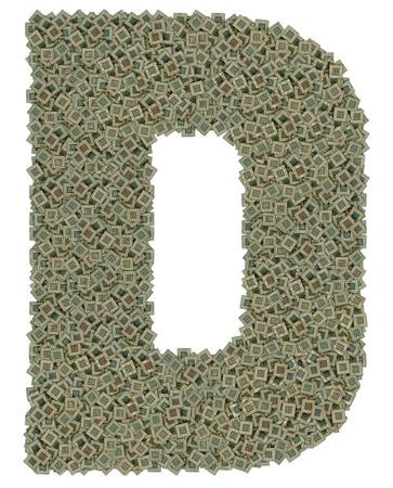microprocesadores: letra D hecho de enorme cantidad de microprocesadores viejos y sucios, aislado en fondo blanco
