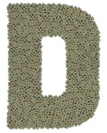 d data: letter D made of huge amount of old and dirty microprocessors, isolated on white background
