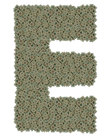 microprocessors: letter E made of huge amount of old and dirty microprocessors, isolated on white background