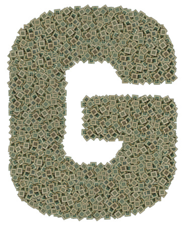 microprocessors: letter G made of made of huge amount of old and dirty microprocessors, isolated on white background