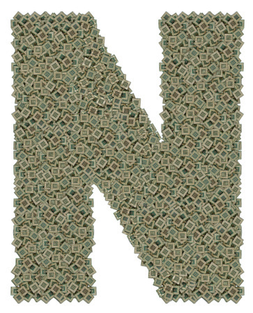 microprocessors: letter N made of made of huge amount of old and dirty microprocessors, isolated on white background