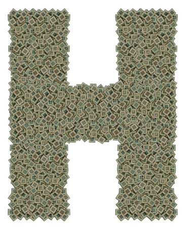 microprocessors: letter H made of huge amount of old and dirty microprocessors, isolated on white background