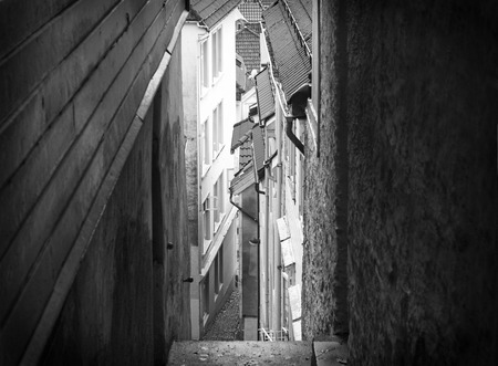 impasse: Narrow street between houses in Bergen, Norway